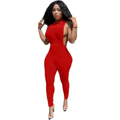 Red  Women's Sleeveless Sexy Halter Jumpsuit