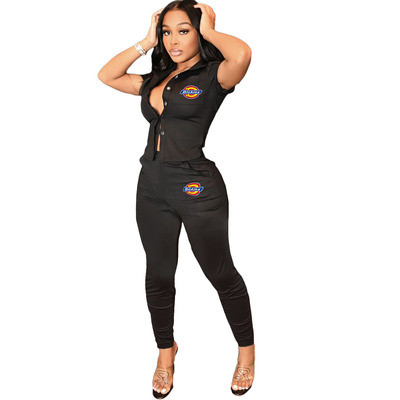 Black   Women's printed workwear top and trousers suit