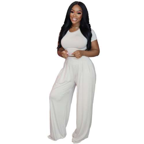 White  Solid color loose wide-leg pants suit