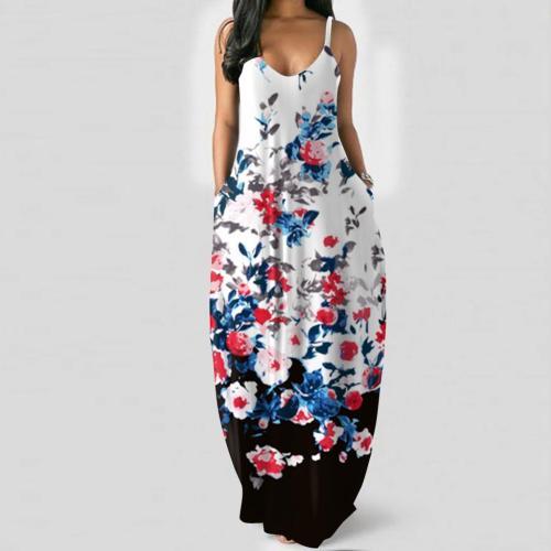 Women's suspender skirt Slim slim sexy long positioning printing dress