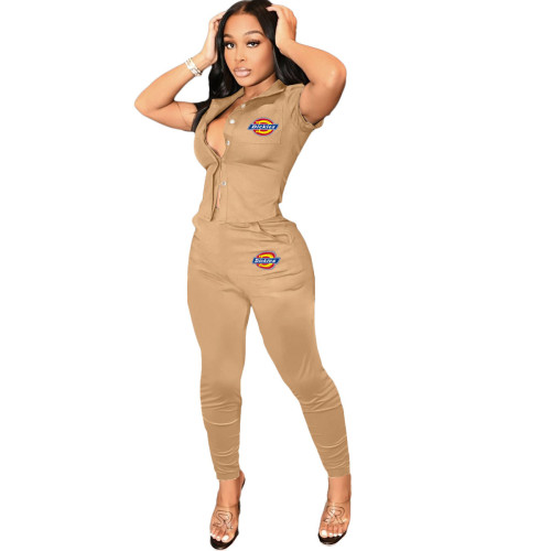 Khaki    Women's printed workwear top and trousers suit