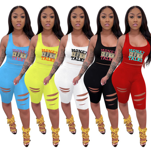2021 new women's fashion casual printed vest shorts burnt flower slim sports two-piece suit