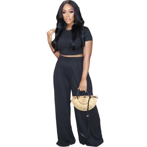 Black  Solid color loose wide-leg pants suit