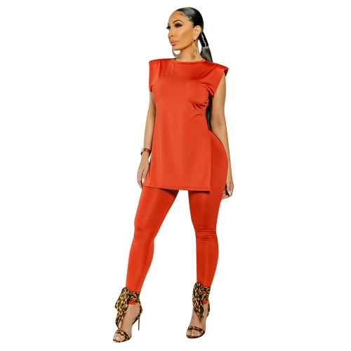 Summer women's clothing solid color shoulder pads loose split two-piece suit
