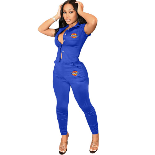 Sapphire   Women's printed workwear top and trousers suit