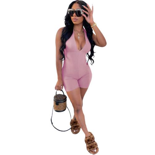 Pink Sleeveless V-neck strappy jumpsuit