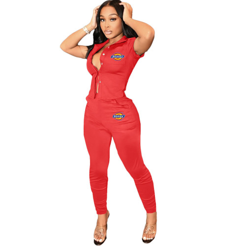 Red   Women's printed workwear top and trousers suit