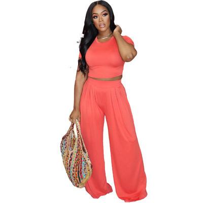 Orange  Solid color loose wide-leg pants suit