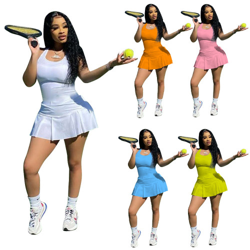 Women's casual sexy solid color nightclub style slim sports vest dress pants