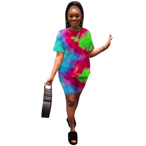 2021 hot model women's casual fashion tie-dye printing suit