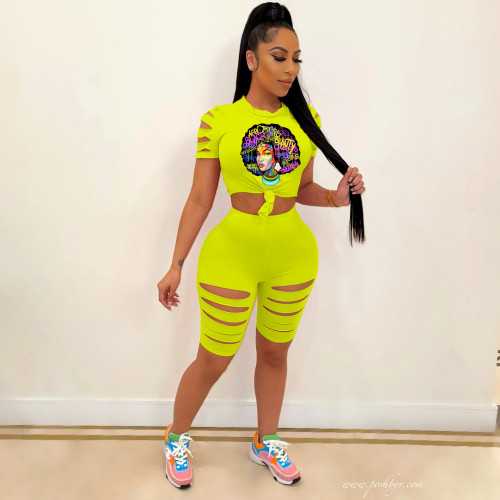 2021 summer new style women's street hipster casual printing sports burnt two-piece set