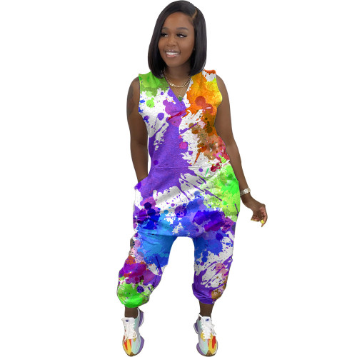 New arrivals of women's clothing printed splash ink casual street wear jumpsuit