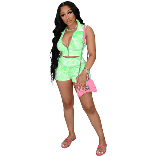 Ladies Tie-Dye Printed Casual Sports Sleeveless Zipper Shorts Two-Piece Set