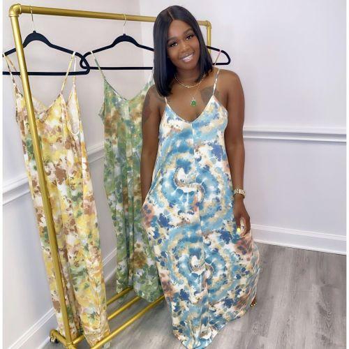 Women's Summer Tie-Dye Printed Loose Sling Dress Long Skirt with Pocket