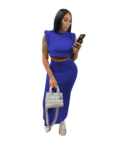 2021 new women's clothing summer solid color vest long skirt sexy nightclub skirt suit