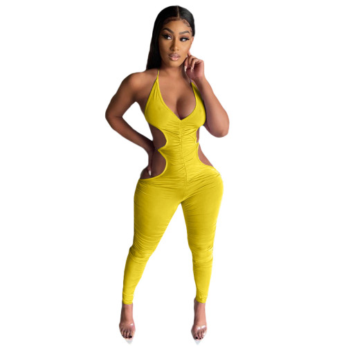 Women's clothing, suspenders, folds, open back, sexy trousers, jumpsuits