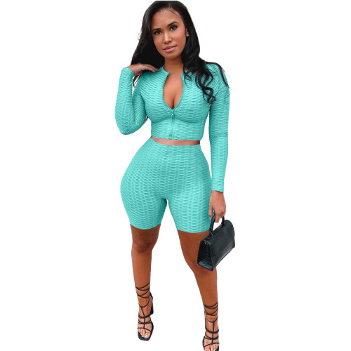 Leisure sports long-sleeved cardigan yoga two-piece suit