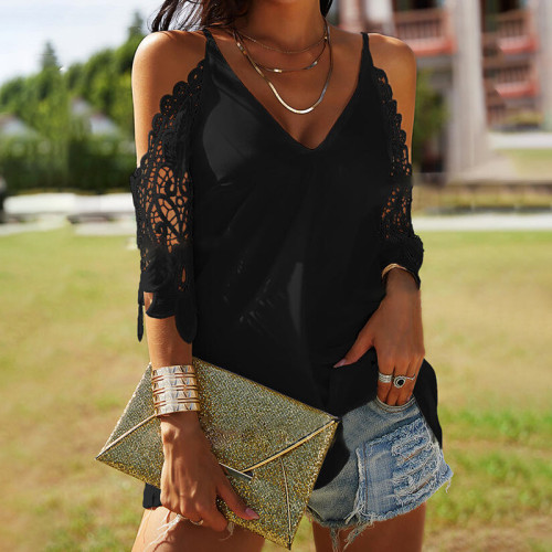 2021 spring and summer new women's V-neck solid color hanging loose casual T-shirt ladies top