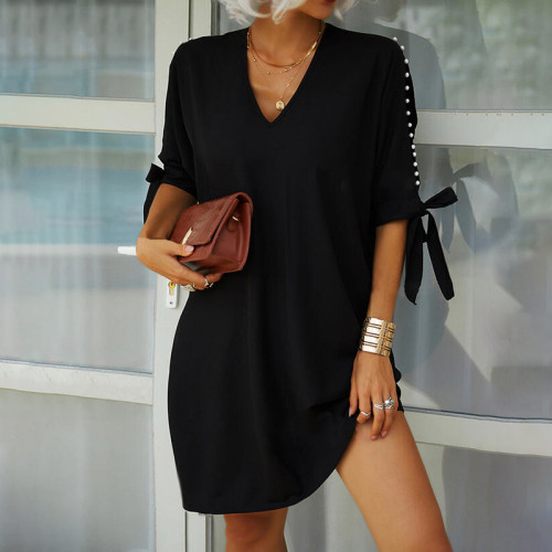 2021 summer new hot style solid color strapless V-neck beaded short-sleeved loose dress