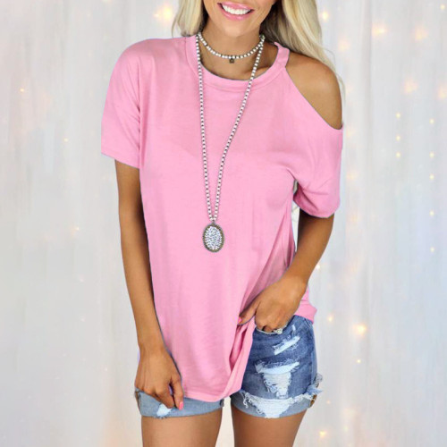2021 summer new solid color round neck strapless short-sleeved casual T-shirt female M9707