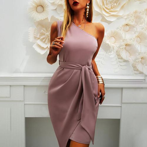 21 summer new solid color sleeveless oblique shoulder irregular strap party dress dress
