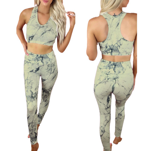 2021 new yoga fitness two-piece tie-dye printing fashion casual suit women