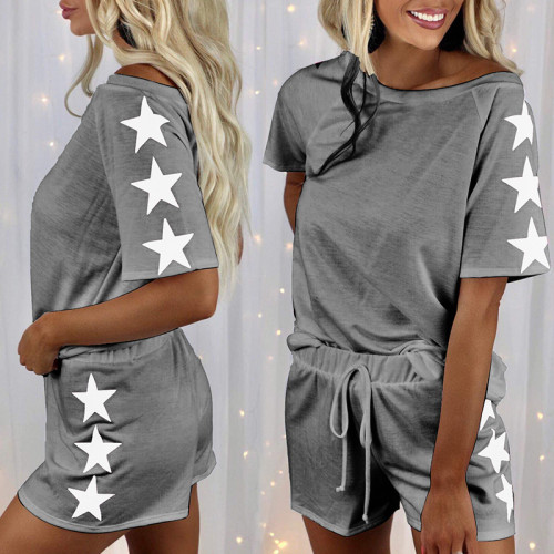 21 summer new five-star printing short-sleeved round neck fashion casual suit home service pajamas women