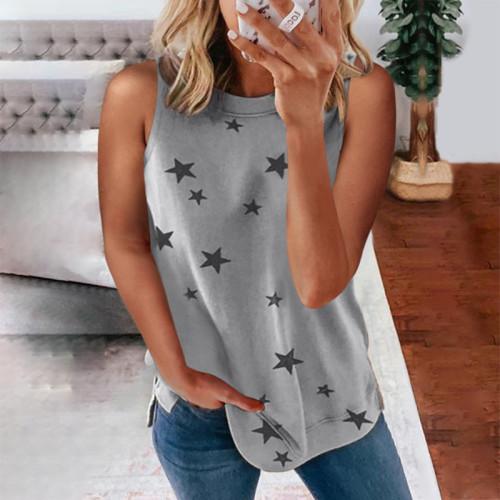 2021 Ladies Star Print Sleeveless Top Pullover Racer Vest
