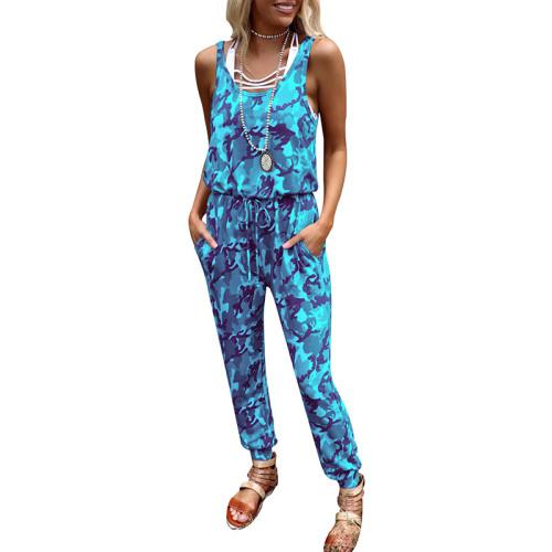 2021 new ladies camouflage print round neck sleeveless high waist casual jumpsuit