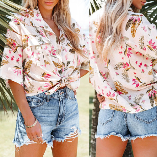 2021 summer new style women's printed lapel sleeve pocket single-breasted casual loose shirt
