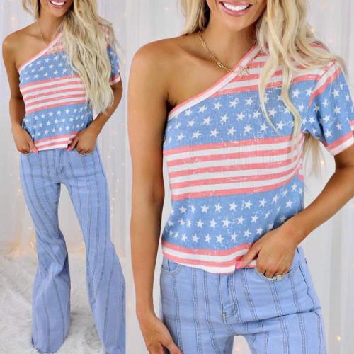 Spot 2021 summer new style striped star print oblique shoulder short-sleeved casual vest T-shirt women