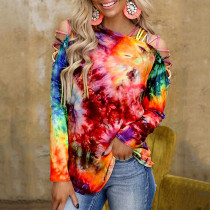 2021 spring and summer new tie-dye printed long-sleeved off-the-shoulder sexy casual top T-shirt women