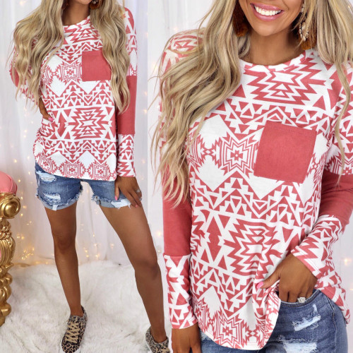 2021 spring and summer new stitching printed long-sleeved pocket casual top T-shirt women