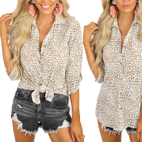 2021 summer leopard print long-sleeved cardigan casual loose lapel shirt women