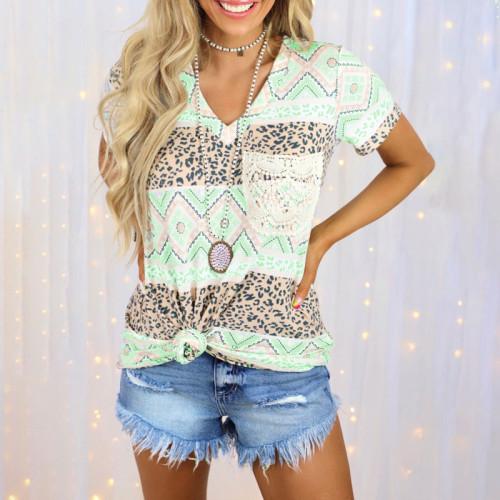2021 summer new print hit color short-sleeved V-neck loose casual T-shirt women