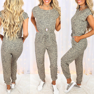Summer new women's leopard print short-sleeved round neck casual jumpsuit