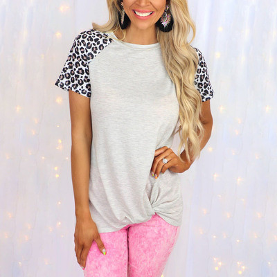 2021 summer new leopard stripe stitching round neck short-sleeved casual T-shirt female M9652