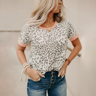 2021 summer new leopard print hit color round neck short sleeve casual T-shirt women