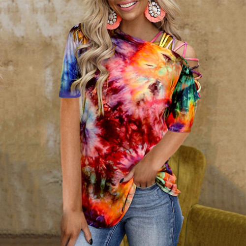 2021 summer new style tie-dye printed sleeveless vest sexy strapless casual T-shirt women
