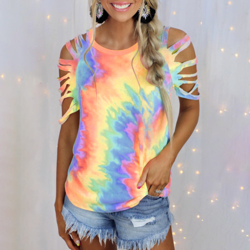 2021 summer new women's tie-dye printed short-sleeved strapless sexy casual T-shirt