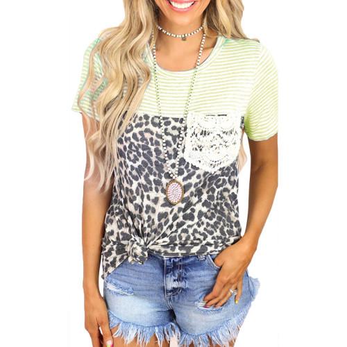 2021 summer new striped leopard print stitching short-sleeved casual T-shirt women