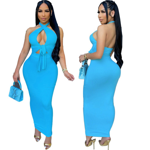 Explosive women's dress, pure color, thin, thin, halter neck dress