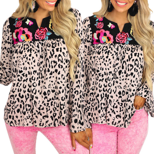 2021 summer new women's leopard print stitching long-sleeved casual loose shirt