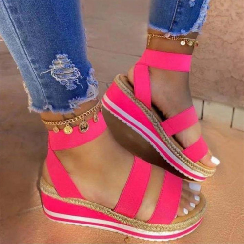 Rose red Women's summer fashion one-word platform casual sandals