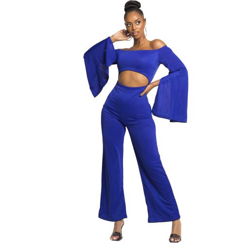 Boutique new casual solid color long-sleeved umbilical shoulder jumpsuit