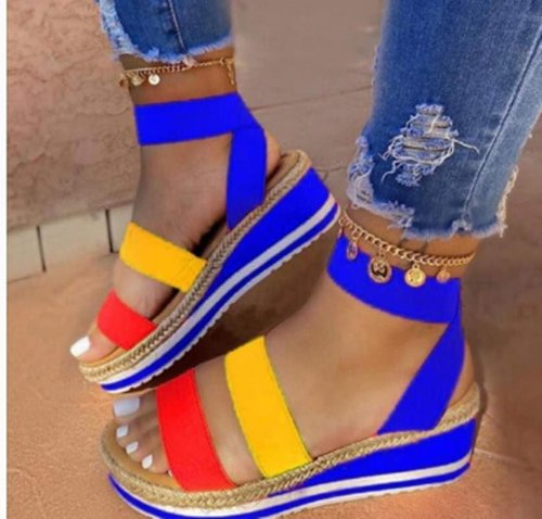 Bule Women's summer fashion one-word platform casual sandals