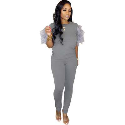 Explosive boutique fashion sports style ruffled multicolor two-piece suit