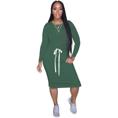 Boutique hot style classic simple casual solid color long-sleeved dress