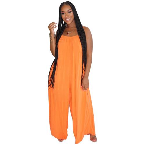 Boutique fashion sexy suspenders solid color wide-leg jumpsuit