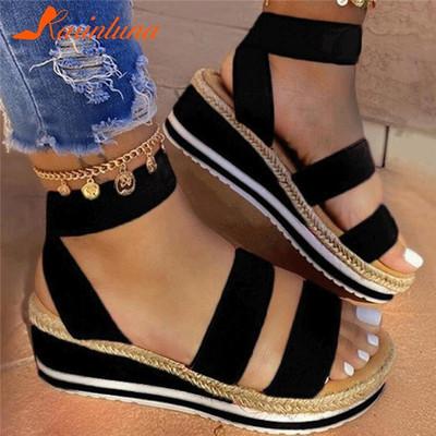 Black Women's summer fashion one-word platform casual sandals
